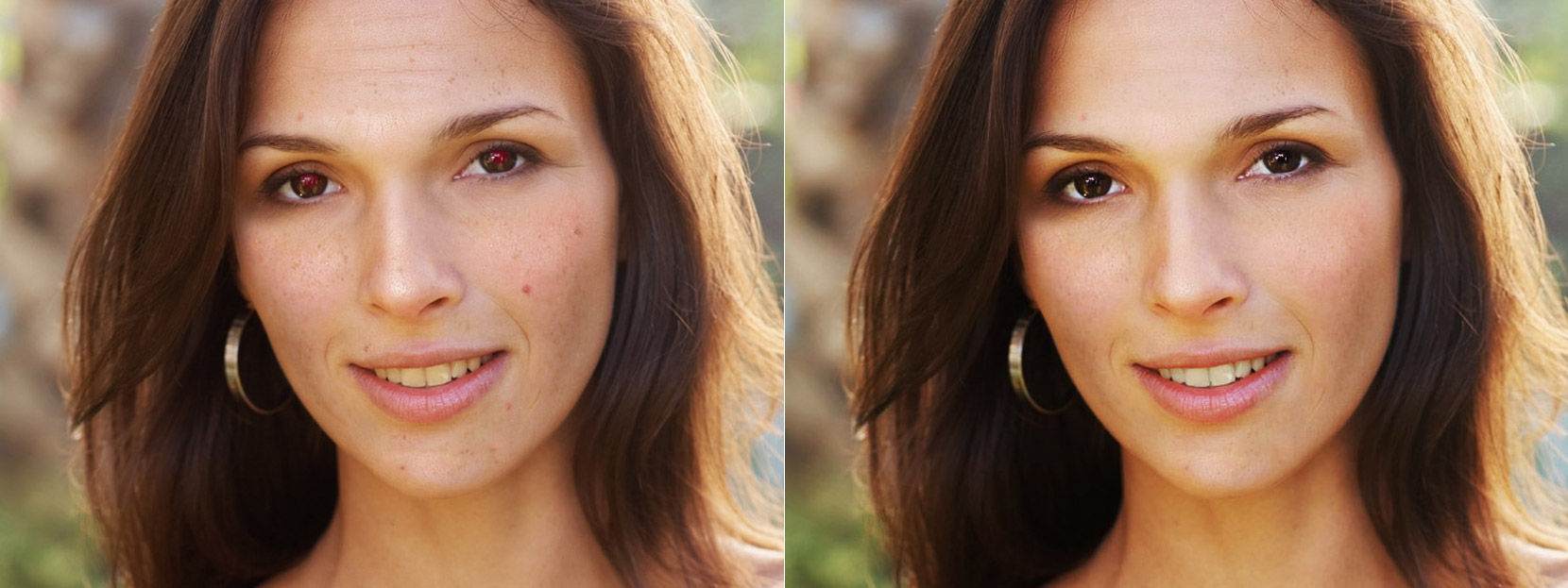 Before and after face retouch on Makeup.Pho.to